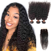 9A Jerry Curly 3 Bundles with Lace Closure  Natural Color Purvian Virgin Hair - ashimaryhair