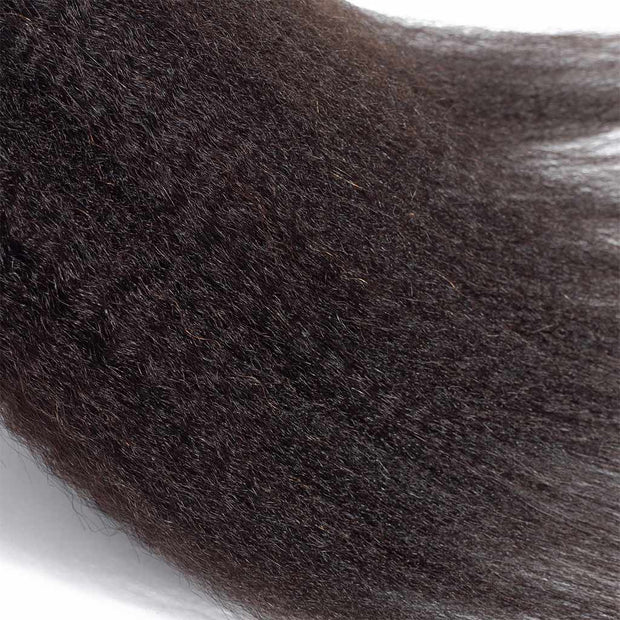 Kinky Straight Hair 3 Bundles 9A Human Hair Natural Color Remy Hair - ashimaryhair