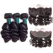 9A Grade Loose Wave 3 Bundles With Frontal Brazilian Virgin Hair - ashimaryhair