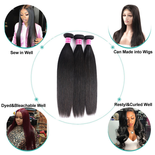 Straight Hair 1 Bundle 9A Brazilian Human Hair Natural Color - ashimaryhair