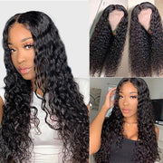 Water Wave 4*4 Lace Closure Wigs Glueless Human Hair Brazilian Natural Wave-AshimaryHair.com