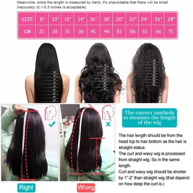 Human Hair Wigs Length Chat and Measurement-AshimaryHair.com