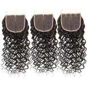 9A Water Wave Virgin Hair 3 Bundles with Closure Natural Color Malaysian Hair - ashimaryhair