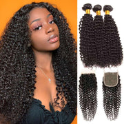 9A Kinky Curly 3 Bundles with Lace Closure Natural Color Brazilian Virgin Hair - ashimaryhair