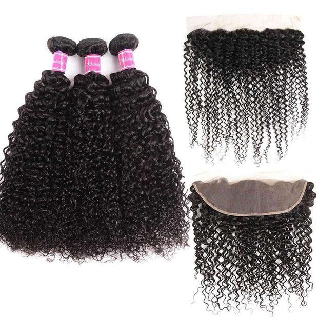 Cute Curly 3 Bundles With Frontal Jerry Curly 9A Grade Brazilian Virgin Hair - ashimaryhair