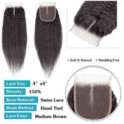 Kinky Straight Hair 3 Bundles with Closure 10A Brazilian Human Hair Natural Color - ashimaryhair
