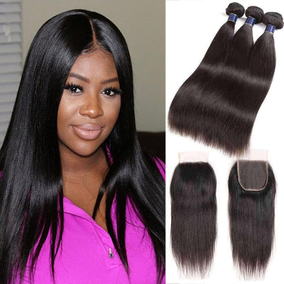 9A Straight Soft Brazilian Virgin Hair 3 Bundles with Closure Natural Color - ashimaryhair