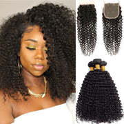 Afro Kinky Curly Hair 3 Bundles with Closure 10A Brazilian Human Hair Natural Color - ashimaryhair