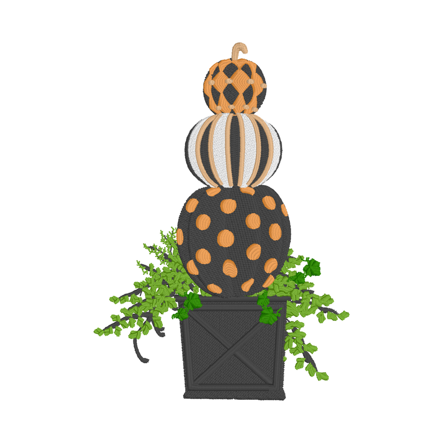 Pumpkin Topiary Embroidery Design File