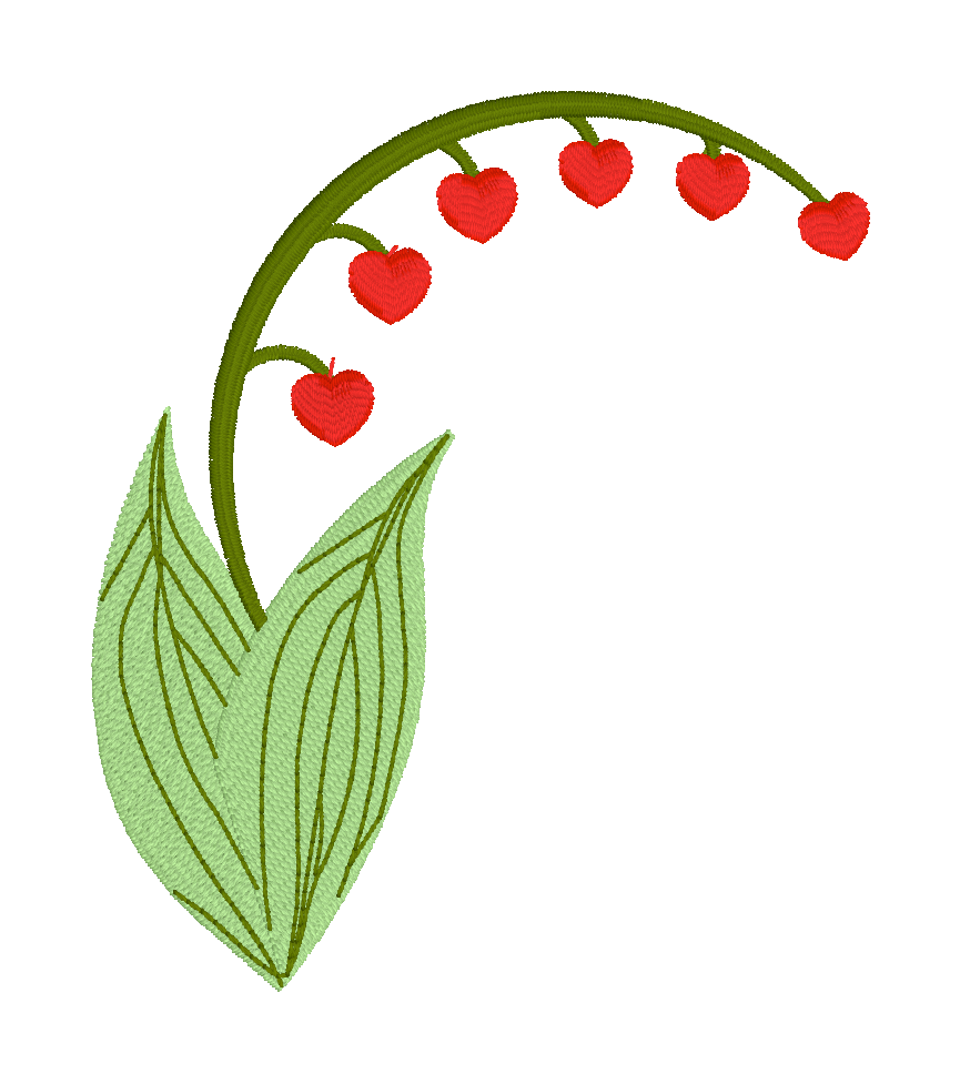 Lily of the Valley with Hearts Embroidery Design