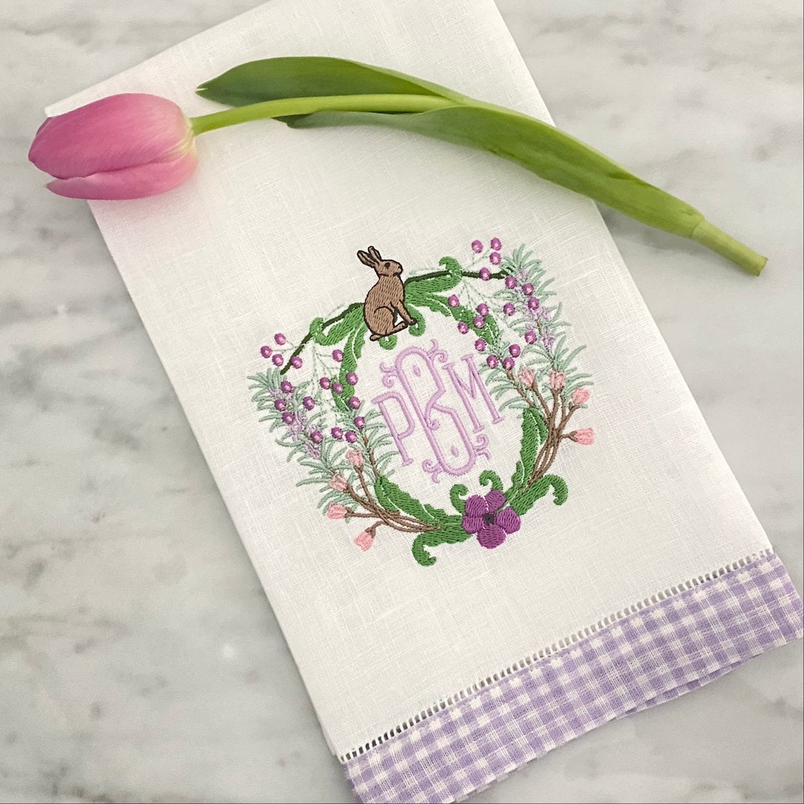 Spring Bunny Crest Embroidery Design