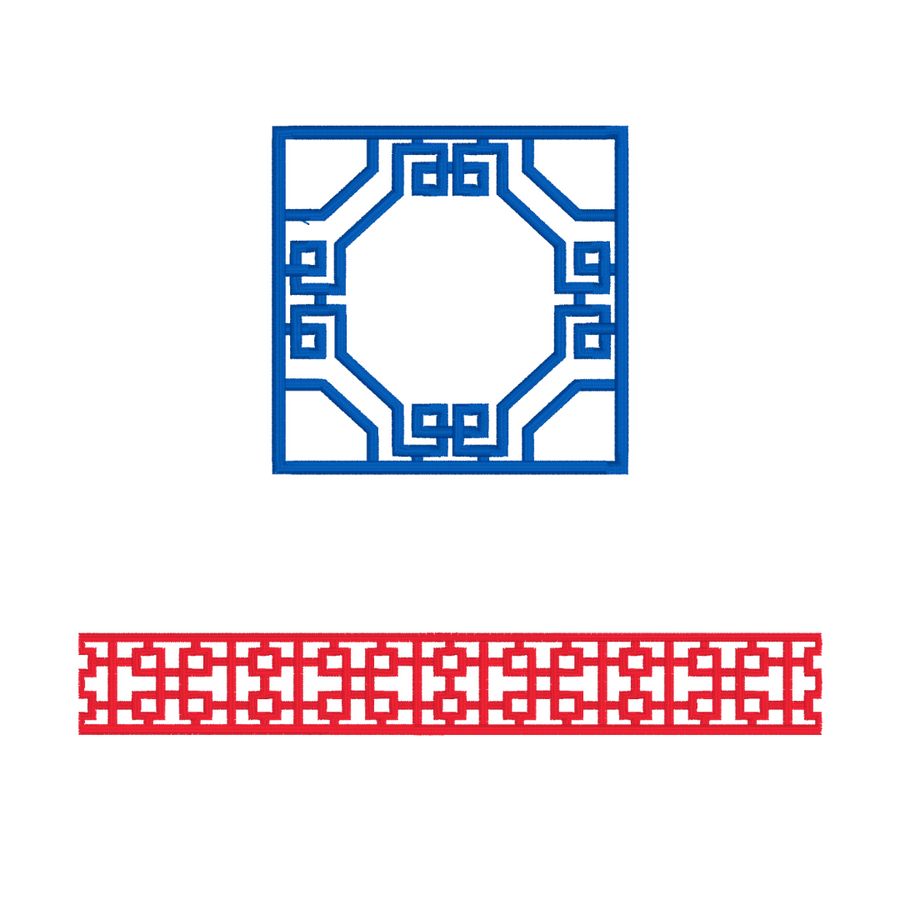 Fretwork Lattice Border Embroidery Design