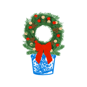 Chinoiserie Holiday Wreath Embroidery Design