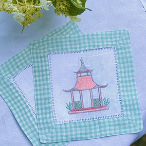 Bring chinoiserie chic to your Garden Folly Fine Linens with this charming garden folly pagoda embroidery design. The digital file consists of designs in 3, 4 and 5 inch widths in both PES and DST formats.   •Please note you must use an embroidery machine to stitch out this embroidery design.