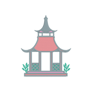 Bring chinoiserie chic to your Garden Folly Fine Linens with this charming garden folly pagoda embroidery design. The digital file contains the design in 3, 4 and 5 inch widths in both PES and DST formats.   •Please note you must use an embroidery machine to stitch out this embroidery design.