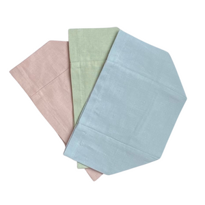 "Make your tissue boxes pretty with these stylish pastel linen covers! Choose from several colors. Perfect for embroidery or as-is. Made from 100% European linen. These covers fit standard sized cube tissue boxes (4.5"" x 4.5"" x 5"".)"