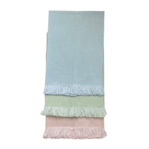 "Brighten the guest bathroom with these pretty pastel fringed hand towels! Ready for embroidery or use them as they are, these 100% European linen guest towels measure approximately 14"" x 20""."