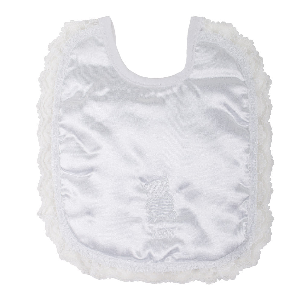 Embroidered Satin Baby Bib