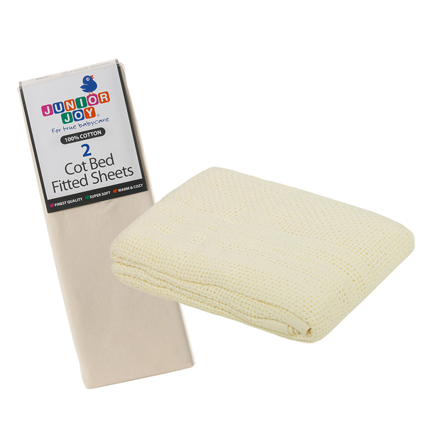 2 Cot Bed Fitted Sheets & Cellular Blanket Bundle