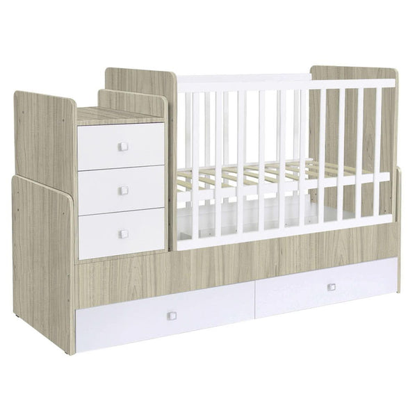 Cot bed Simple 1100 with drawer unit - elm-white