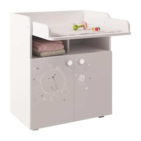 Changing Board Cupboard Teddy Print - White