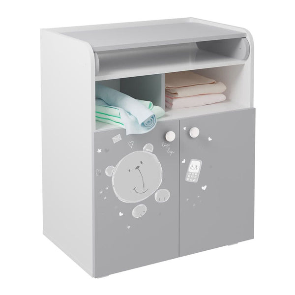 Changing Board Cupboard, Teddy Print - White-Grey