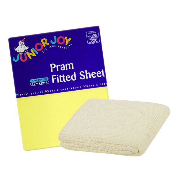 1 Pram Fitted Sheet & Cellular Blanket Bundle
