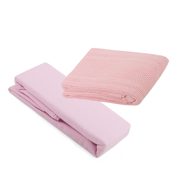 2 Cot Bed Flannelette Sheets & Cellular Blanket Bundle