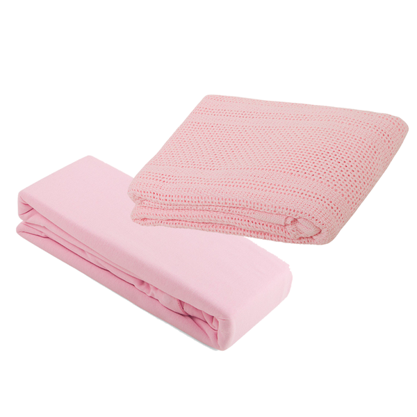 2 Pram Fitted Sheets & Cellular Blanket Bundle