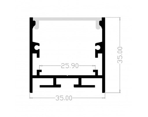 1M A3535 ALUMINIUM EXTRUSION DEEP SURFACE MOUNT KIT - LEDLIGHTMELBOURNE