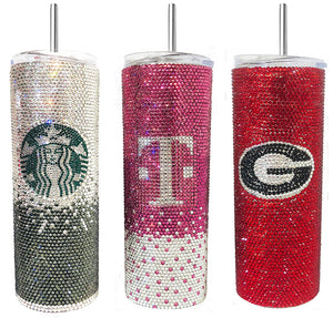Custom GLASS Rhinestone SKINNY Stainless Steel Travel Mug