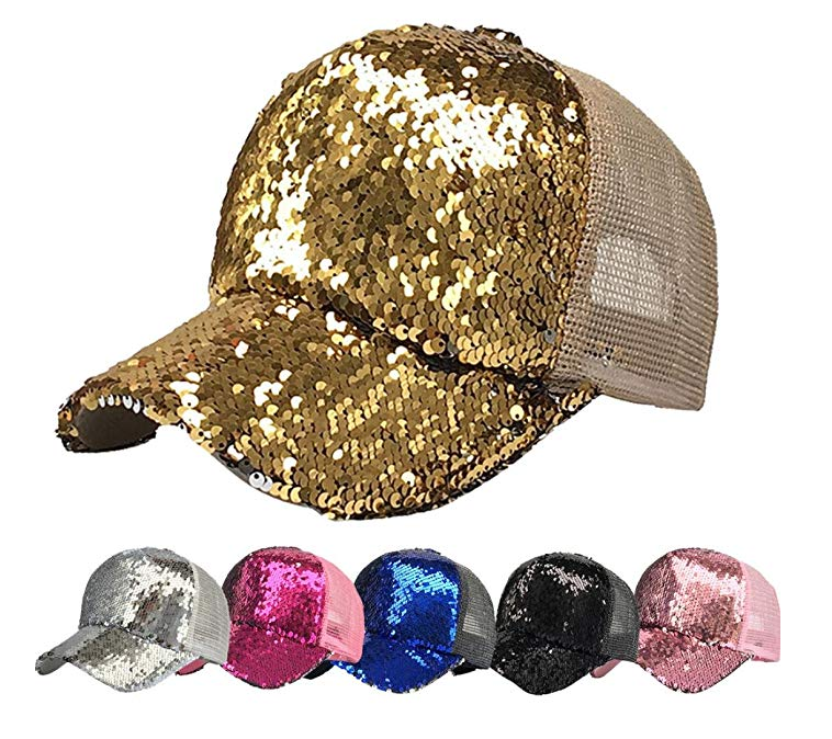 Custom logo Sequin Trucker Caps