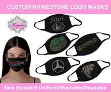 Load image into Gallery viewer, NEW Custom logo rhinestone emblazoned face masks!