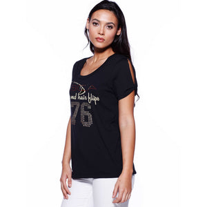 Ladies Custom Rhinestone Twist Sleeve T-shirt