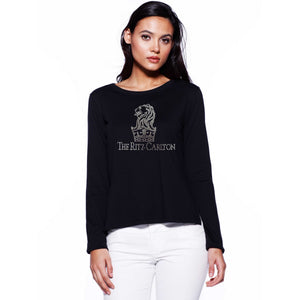 Ladies Custom Rhinestone High Low Long Sleeve T-shirt