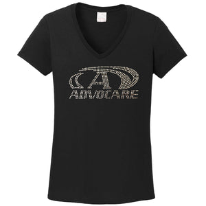 Ladies Custom Rhinestone V-Neck T-Shirt  Item # 5V00L