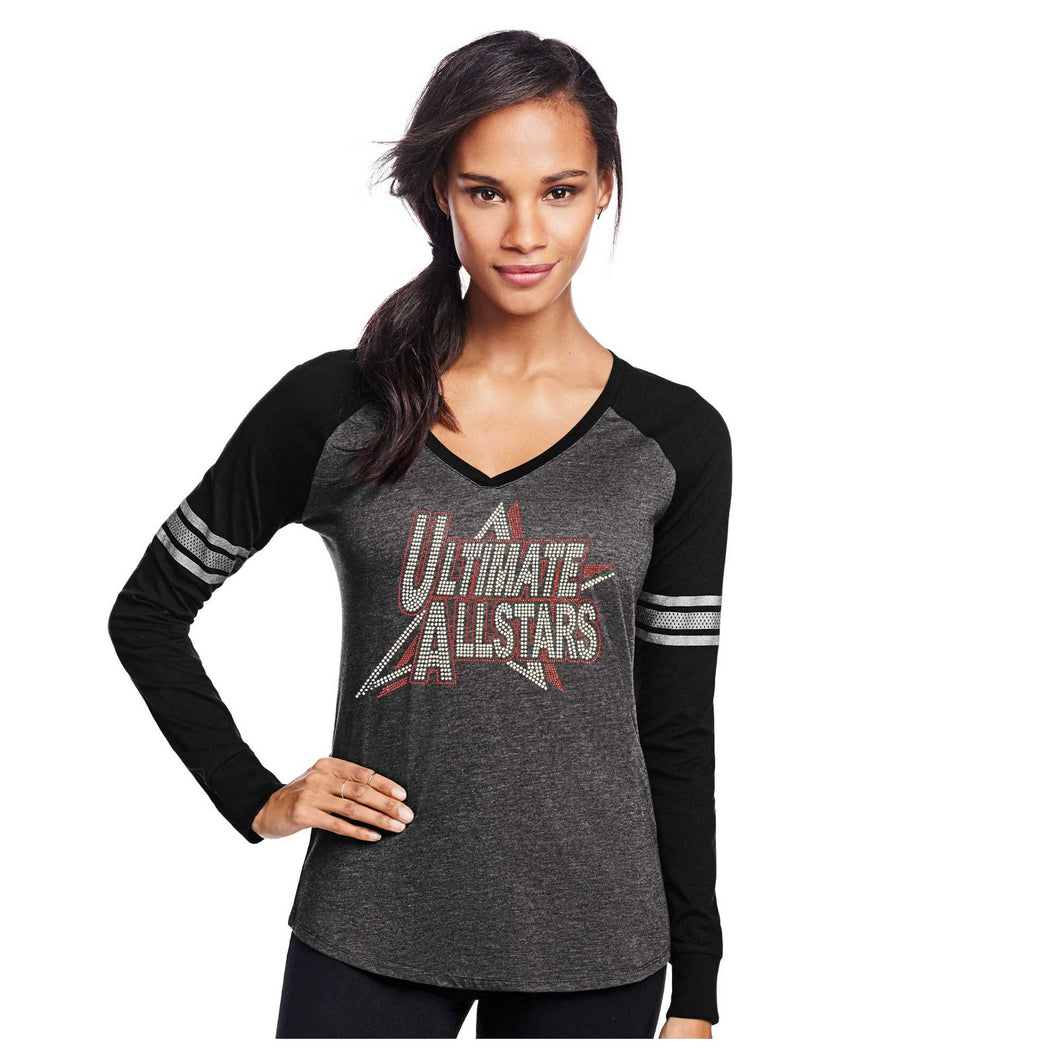 Ladies Custom Rhinestone Long Sleeve V-Neck T-shirt  Item # DM477