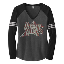 Load image into Gallery viewer, Ladies Custom Rhinestone Long Sleeve V-Neck T-shirt  Item # DM477
