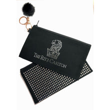 Load image into Gallery viewer, Rhinestone Wristlet/Cosmetic/Travel Bag w/ optional pom pom key chain