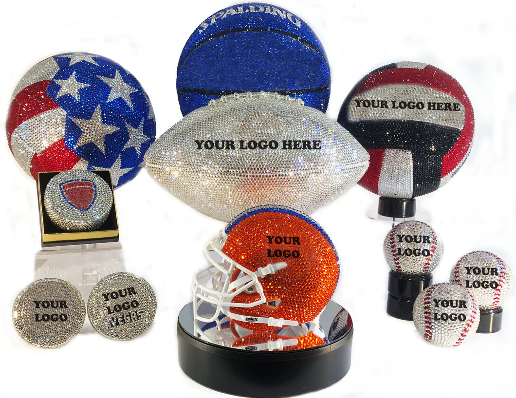 Custom Rhinestone Emblazoned Sport Balls, Helmets and Pucks! click here for more images