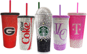 Custom Rhinestone Emblazoned Double Wall Tumblers