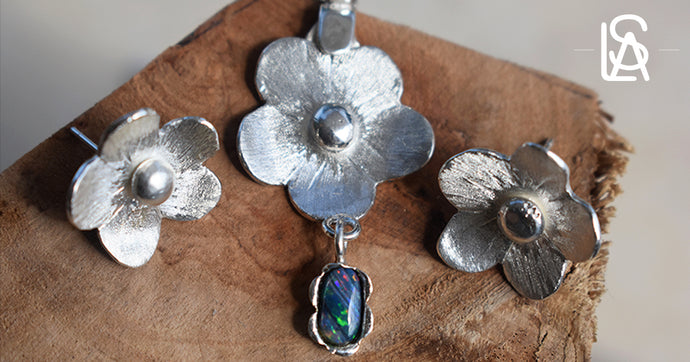 Tropical flower set with  pendant and earrings, sterling silver and natural black  opal
