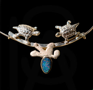 Turtle & coral reef pendant with natural black opal