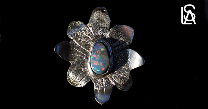 Tropical flower sterling silver pendant  with natural black opal. Handmade