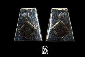 Set of earrings and pendant with natural black and matrix opals