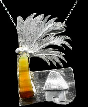 Coconut dream handmade pendant  with natural fire opal