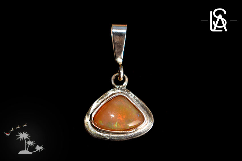 Sterling silver pendant with natural  fire opal. Handmade
