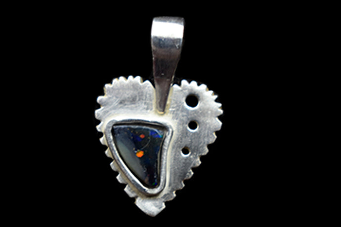 Heart pendant, sterling silver with natural black opal. Handmade.