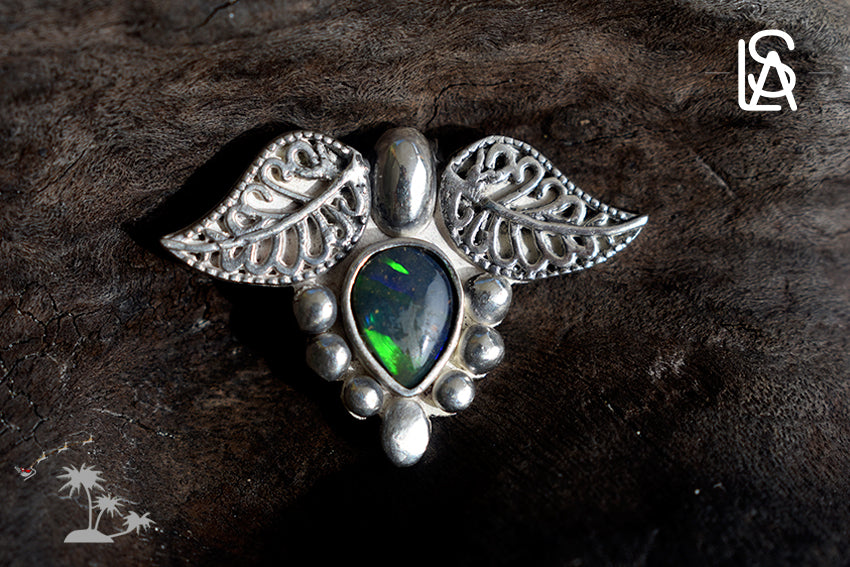 Morning dew on leafs pendant with natural black opal