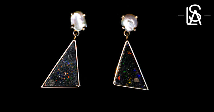 Vulcano with cloud earrings with natural black matrix opals
